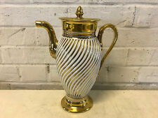 Antique 19th Century Old Paris Deroche Porcelain Gold & White Coffee Pot