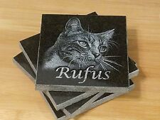 Custom Engraved Drink Coaster set of 4 Granite Coasters Engraved Photo FREE SH
