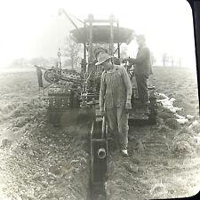 Vtg Keystone Magic Lantern Slide Photo Early Ditch Digger Machine Wisconsin