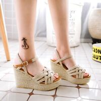 Women Wedge High Heel Woven Boho Platform Open Toe Slingbacks Sandals Shoes Chic