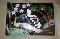 Vintage Asian Malaya Black Lacquer and painted Photo Scrapbook Album