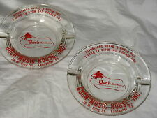 2 Vintage Advertising Glass Ashtray BUCH MUSIC King st Lancaster PA piano organ