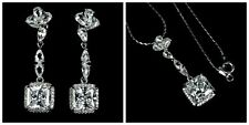 Sterling Silver Princess Cut Bright White Lab Diamond Pendant Earrings and Chain