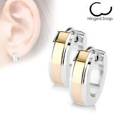Paire Boucles d'oreille anneaux centre or rose