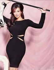 kim kardashian black dress evening wedding midi sleeves bodycon s 6