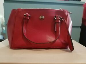 NWT Coach Peyton Leather Mini Jor Double Zip Satchel Carryall Bag F32829 Red