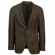 NWT CARUSO Brown Houndstooth 3 Roll 2 Button Sport Coat Size 52/42 R Drop 8