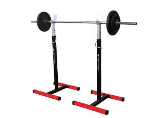 Black Squat Rack Power Stand Heavy Duty Bench Press Barbell Adjustable Weight