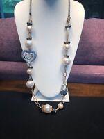 "Vintage Large Pearl Heart Lock Gun Metal necklace  36"" Long Sweater Style"
