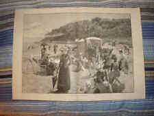 ANTIQUE VICTORIAN FASHION SEASIDE BEACH BICYCLE PRINT N