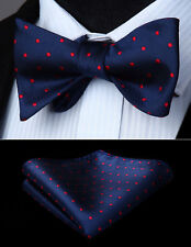 Red Navy Blue Polka Dot Self Bow Tie Pocket Square Butterfly Silk Set#BD609VS