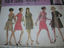 1968 McCALL'S #9576-LADIES TWO STYLE DRESS-COAT or JACKET & SCARF PATTERN 14½ FF