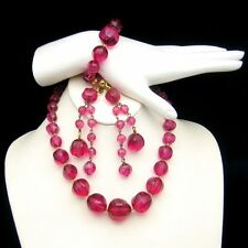 Chunky Pink Red Lucite Faux Crystal Beads Necklace Bracelet Earrings Set Vintage