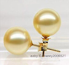 Awesome~golden southsea shell pearl 12mm stud earring