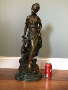 "Antique Math Moreau (French 1822-1912) ""FAVORITE"" Bronze Sculpture 25"" tall RARE"