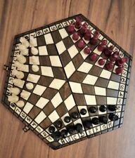 Chess Set for Three Players Hand Made Small 32 X 28 Woodeeworld