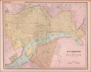 RICHMOND, VIRGINIA, antique city map, ORIGINAL 1891