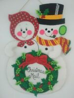 "Vintage SNOWMAN Christmas Card Holder Felt Sequins and Beads Handmade Cute 22""in"
