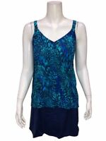 Denim & Co. Women's Beach Hi-Low Tankini Swimsuit with Skirt Navy 26W Plus Size