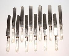 12 Vintage MOP Mother of Pearl Handle + Sterling Table Knives J Russell AS IS