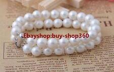 "New Pretty 2 Rows 8mm white South Sea Shell Pearl Bracelet 7.5"""