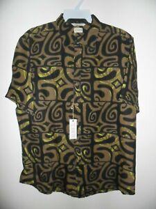 TE AITO Men's S/S Button Up Shirt TA'AROA - Black - Large - NWT