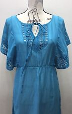 HD In Paris Blue Summer Tunic Dress Lace Crochet Sz 2 Turquoise Blue Sleeveless
