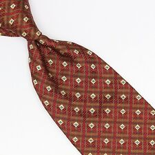 Altea Milano Silk Necktie Red Brown Copper Gold Blue Check Weave Made in Italy