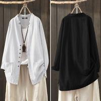 Mode Femme 100% coton Simple Ample Manche Longue Loisir Chemise Haut Tops Plus