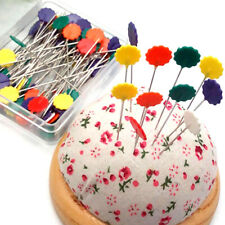 50Pcs Long Flower Head Pins Craft Easy Tools Nickel Quilting Sewing Hand Needles