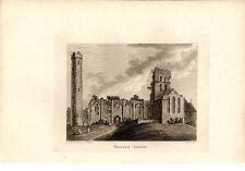 ANTIQUE IRISH PRINT - KILDARE ABBEY - SAMUEL  HOOPER COPPERPLATE (1791)