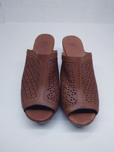 UGG Women's Size 10 Leather Perforated Slip On Clog Wood Heel Shoes Brown