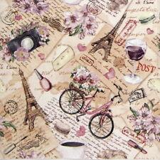 4x Paper Napkins  for Party, Decoupage Craft  Voyage a Paris