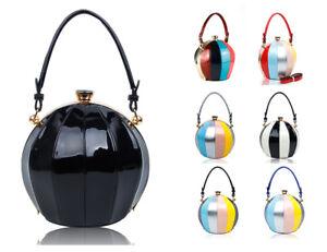 New Womens Large Ball Shape Patent Leather Top-Handle Handbag Girl Shoulder Bag