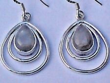 STERLING SILVER 25mm.HOOP EARRINGS with MOONSTONE CABOCHON STONES £16.95 NWT