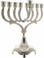 More details for 9 branch hanukkah menorah silver 23cm chanukah menora jewish hanukiah