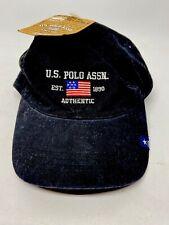 US Polo Association Mens Black Baseball Golf Hat Cap Embroidered Flag NEW