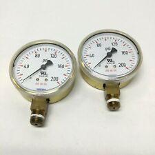 "Lot of 2 Wika 111.11.68 Bourdon Tube 2.5"" Pressure Gauges 0-200psi, 1/4"" NPT"