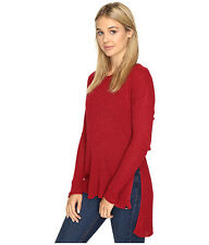 2016 NWT WOMENS VOLCOM GLIDER SWEATER $55 S brick red polyester acrylic cotton