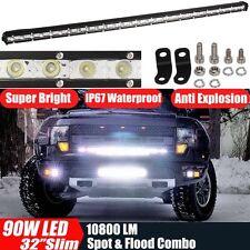 32'' 90W Flood Spot Slim LED Light Bar Work Lamp Offroad Driving 4WD SUV Truck