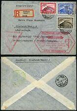 246/Zeppelin Dt. Reich 1933 Chicagofahrt R-Brief 496-498 Anschlußflug Si 238 D