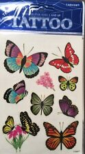 WHOLESALE LOT 24 PCS  HIGH QUALITY TEMPORARY TATTOOS BIG GLITTER BUTTERFLIES