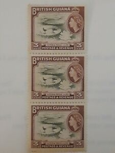 BRITISH GUIANA SG 333 or SG354 - Clubfoot flaw on birds foot,  block of 3 MNH