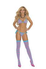 3 Piece Set! Stripe String Bra, Tie Side Thong & Stockings! Adult Woman Clothing