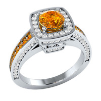 Fashion 925 Silver Filled Jewelry Round Cut Citrine Women Wedding Ring Size 6-10