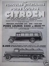 PUBLICITÉ 1933 VEHICULES UTILITAIRES POIDS LOURDS CITROËN AUTOBUS CITERNE