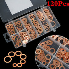 120Pc Copper Washers Universal Car Engine Solid Copper Crush Washers Seal Gasket