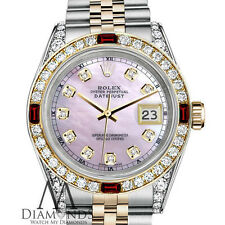 Rolex Datejust SS & 18k Gold 31mm Watch Pink MOP Dial with Ruby & Diamond Watch