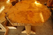 Vermont Octagon Table Custom Crafted with Pine Log Slice Top, Ash Leg, Delivery