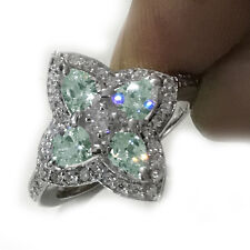 Pear Real Moissanite .925 Silver Ring 4.18ct vvs1 Great Gorgeous White Ice Blue
